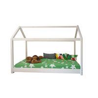 Pat dormitor montessori din lemn pentru copii cu saltea inclus 90x200 Alb mat