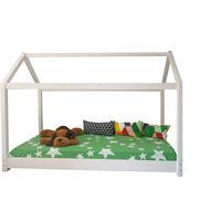 Pat dormitor din lemn 90x200 cm tip montessori Alb mat