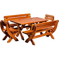 Set mobilier gradina KING din lemn cu masa 160x80x73 culoare teak