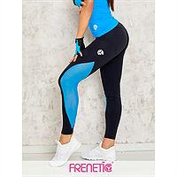 Frenetic Colanti lungi fitness, negru, cu insertie de tul, culoare albastra, ORCA-01/48