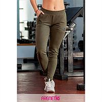 Frenetic Pantaloni lungi fitness, Culoare, verde, talie inalta, STRIPS-70
