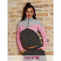 Frenetic Bluza cu fermoar, hoodie, combinatie gri, roz, HERMIONE SWEATER-03, M