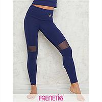 Frenetic Colanti lungi fitness, cu insertie de tul, culoare bleumarin, Hortenz-45