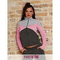 Frenetic Bluza cu fermoar, hoodie, combinatie gri, roz, HERMIONE SWEATER-03, S