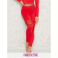 Frenetic Colanti lungi fitness, cu insertie de tul, culoare rosu, Hortenz-23