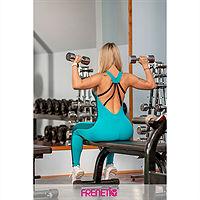 Frenetic Salopeta verde turcoaz, fitness, cu fermoar, Naomi-54