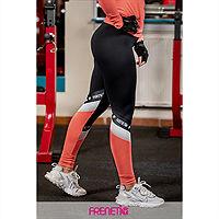 Frenetic Colanti fitness, talia inalta, culoare neagra cu insertie de material piersica neon pink, POWER-01/24