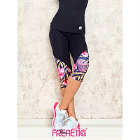 Frenetic Colanti fitness, treisfreturi,culoare negru cu multicolor, talia inalta, cusatura efect bombare fese, PARY-01