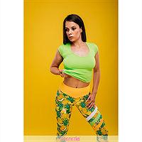 Bluza basic, maneca scurta, material fitness, culoare verde deschis, HOPP-59