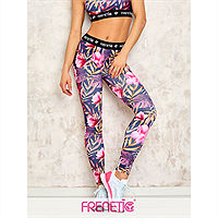 Frenetic Colanti fitness, talia inalta, multicolor, model exotic, PINKY-01