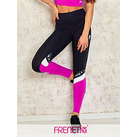 Frenetic Colanti fitness, talia inalta, culoare neagra cu insertie de material fuchsia pink, POWER-01/36