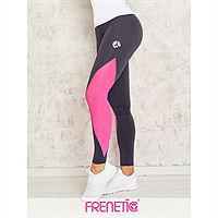 Frenetic Colanti lungi fitness, gri inchis, cu insertie de tul, roz neon, ORCA-03/21